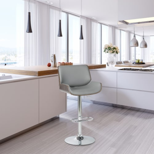 Glitzhome Mid-Century Modern Adjustable Height Swivel Bar Stool - Gray Perspective: right