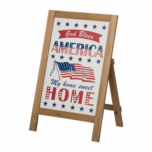 Glitzhome Patriotic Wooden Porch Sign Standing/Hanging Decor Perspective: right