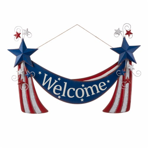 Glitzhome Patriotic Welcome Metal Yard Stake/Wall Sign Perspective: right