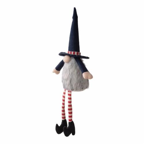 Glitzhome Patriotic Stuffed Fabric Mantel Sitter Gnome Perspective: right