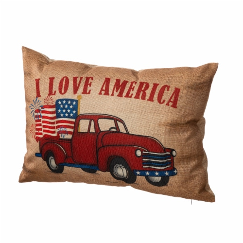 Glitzhome Patriotic Americana Burlap Pillow Perspective: right