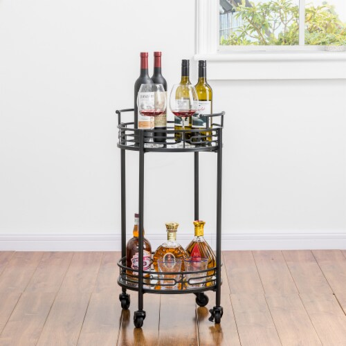 Glitzhome Deluxe 2-Tier Metal Bar Cart - Black Perspective: right
