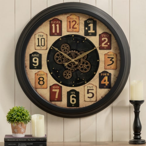 Glitzhome Oversized Vintage Round Gear Clock Perspective: right