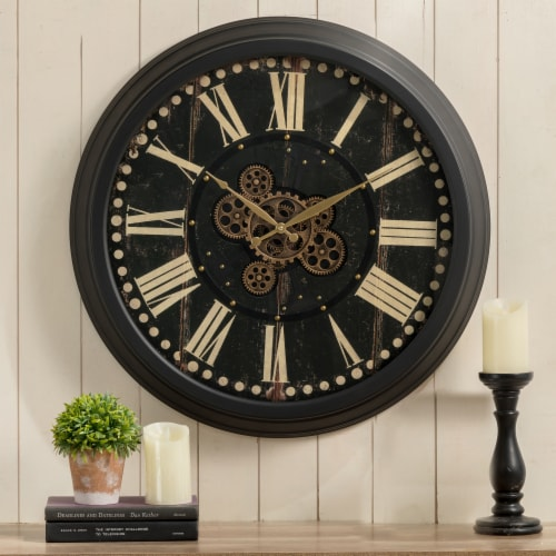 Glitzhome Oversized Vintage Gear Clock - Black Perspective: right
