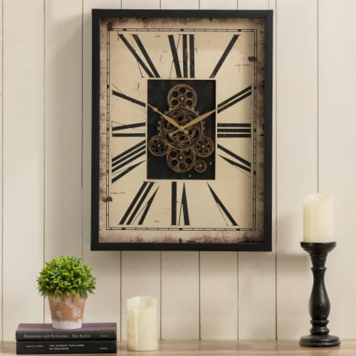 Glitzhome Vintage Rectangle Gear Clock Perspective: right