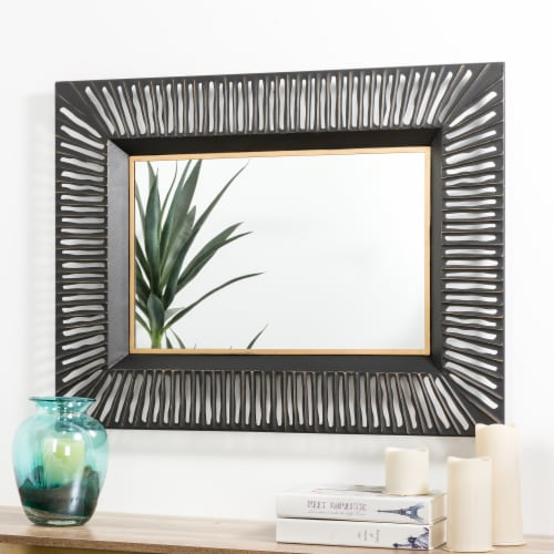 Glitzhome Oversized Modern Metal Wall Mirror - Black/Gold Perspective: right