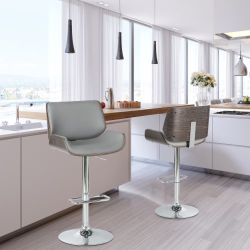 Glitzhome Midcentury Modern Adjustable Height Swivel Bar Stools - Gray Perspective: right