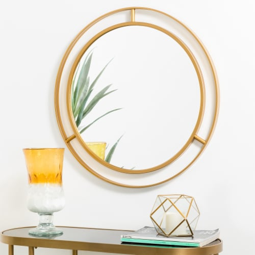 Glitzhome Oversized Glam Metal Round Wall Mirror - Gold Perspective: right