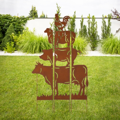 Glitzhome Farmhouse Silhouette Rustic Metal Yard Stake Perspective: right