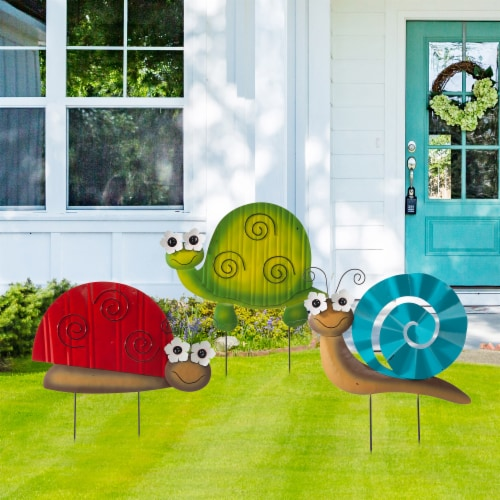 Glitzhome Metal Tortoise/ Ladybug/ Snail Yardstake or Wall Decor Perspective: right