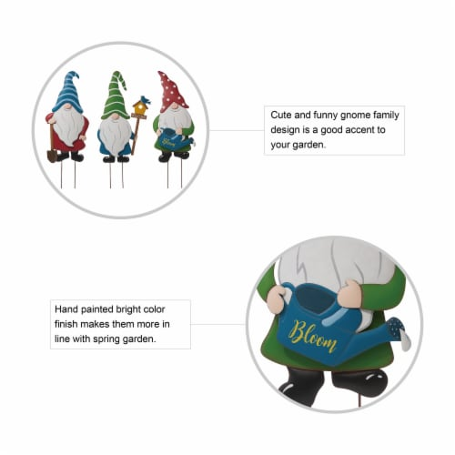 Glitzhome Metal Gnome Yard Decor - 3 Pack Perspective: right