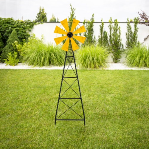 Glitzhome Metal Wind Spinner Yard Steak Spring Decor - Yellow Perspective: right