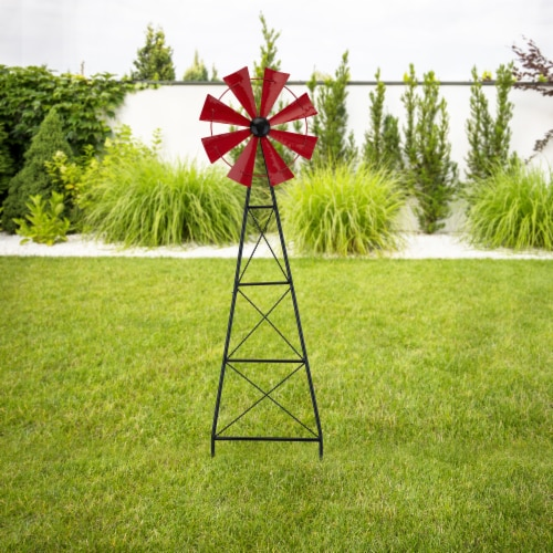 Glitzhome Metal Red Wind Spinner Yard Stake Spring Decor - Red Perspective: right