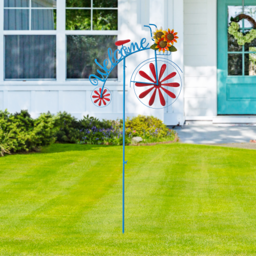 Glitzhome Metal Bicycle Wind Spinner Welcome Yard Stake - Red Perspective: right