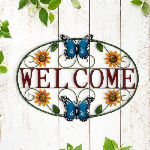Glitzhome Metal Welcome Word Butterfly and Flowers Wall Decor Perspective: right