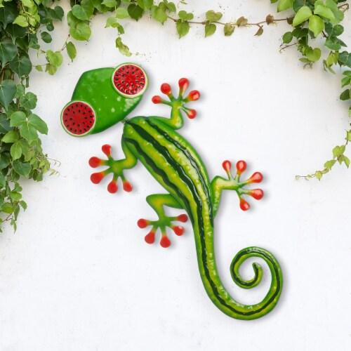 Glitzhome Metal Watermelon Gecko Wall Decor - Multi Perspective: right