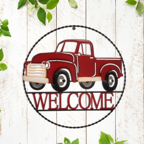 Glitzhome Rustic Metal Truck with Welcome Word Wall Decoration - Red Perspective: right