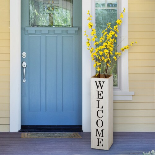 """Glitzhome Double Sided Wooden Boxed """"WELCOME HOME"""" Porch Sign Perspective: right"""