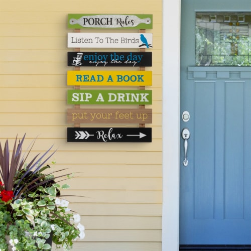 Glitzhome Oversized Wooden Pallet Porch Rules Wall Sign Decor Perspective: right