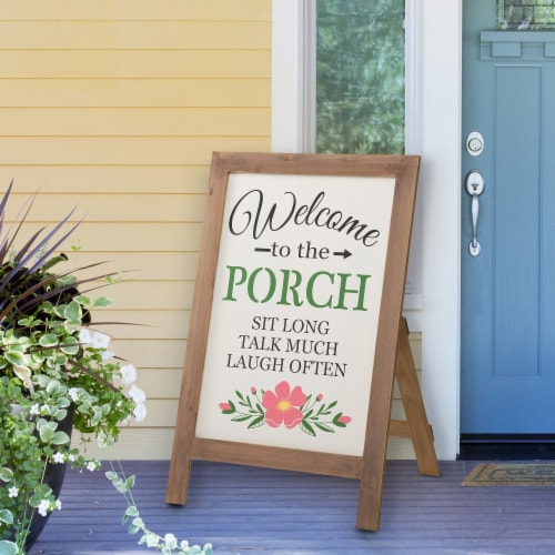 """Glitzhome """"Welcome to the Porch"""" Wood Framed Easel Porch Sign with Flowers Perspective: right"""