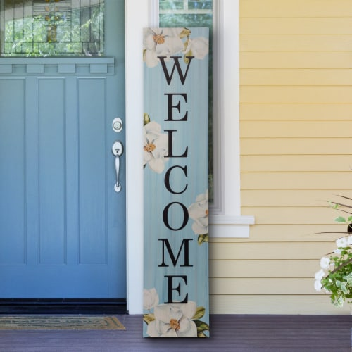 """Glitzhome Wooden """"WELCOME"""" Word Porch Sign Decor with Lilies Perspective: right"""