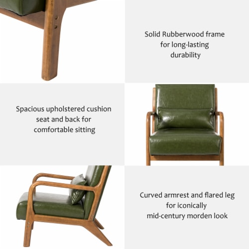 Glitzhome PU Leather Accent Armchair - Hunter Green Perspective: right