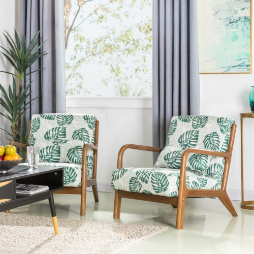 Glitzhome Mid-Centry Modern Fabric Accent Armchair - Patterned Perspective: right
