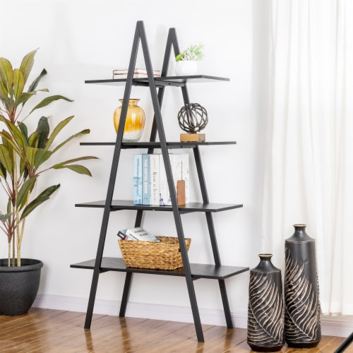 Glitzhome 4-Tiered Industrial Shelves - Black Oak Perspective: right