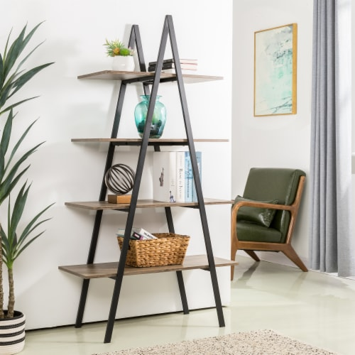 Glitzhome 4-Tiered Metal & Wood Industrial Shelf - Oak Perspective: right