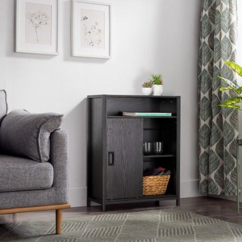 Glitzhome Melamine Floor Cabinet - Black Oak Perspective: right