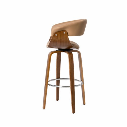 Glitzhome Mid-Century Modern PU Leather and Oak Bentwood Swivel Bar Chair - Gray Perspective: right