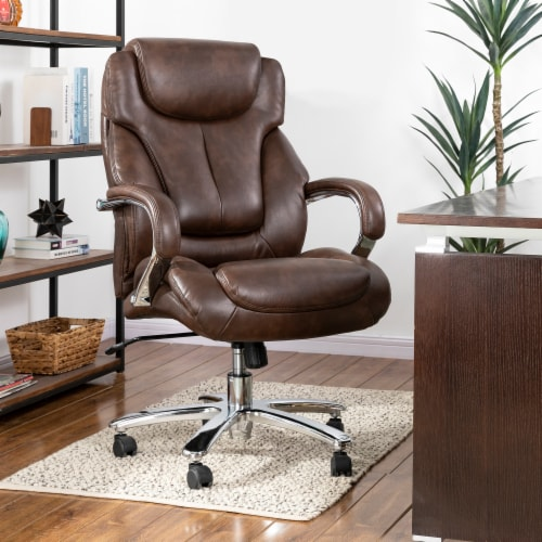 Glitzhome Leather Adjustable Height Swivel Chair - Coffee Perspective: right