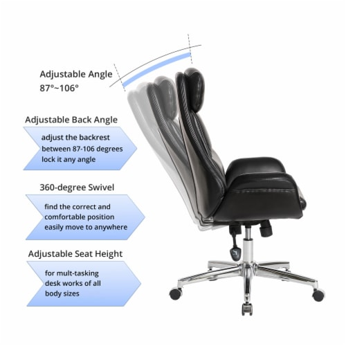 Glitzhome Midcentury Air Leatherette Adjustable Swivel High Back Office Chair - Black Perspective: right