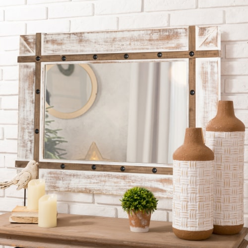 Glitzhome Oversized Farmhouse Wood Rectangular Wall Mirror Perspective: right
