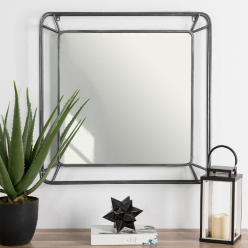Glitzhome Modern Square Metal Frame Geometric Wall Mirror Perspective: right