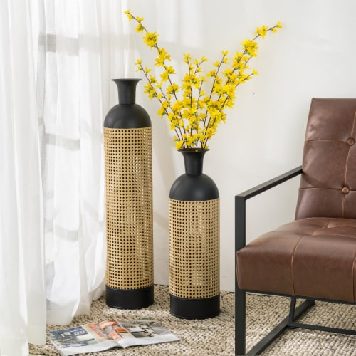 Glitzhome Boho Decorative Metal Floor Vases - Gold/Black Perspective: right