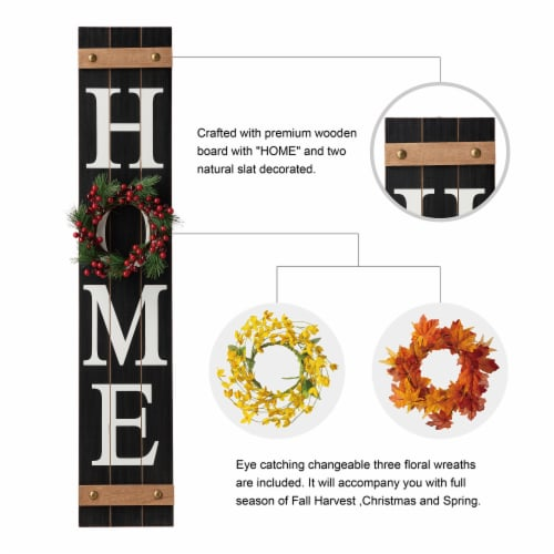 Glitzhome Wooden Home Porch Sign with Changeable Wreaths Perspective: right