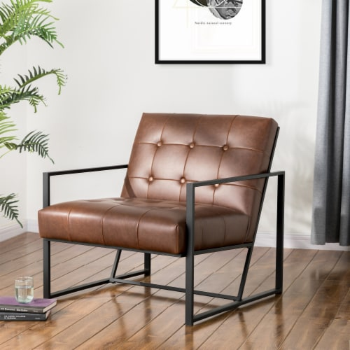 Glitzhome Mid-Century Modern PU Leather Tufted Accent Chair - Brown Perspective: right