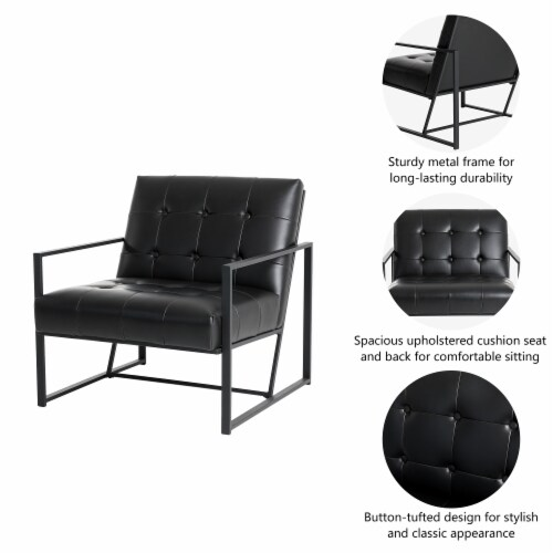 Glitzhome Mid-Century Modern PU Leather Tufted Accent Chair - Black Perspective: right