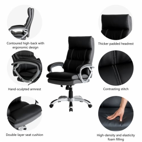 Glitzhome PU Leather Adjustable Swivel Office Chair - Black Perspective: right