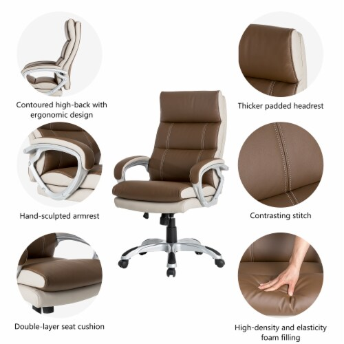 Glitzhome PU Leather Adjustable Swivel Office Chair - Brown Perspective: right
