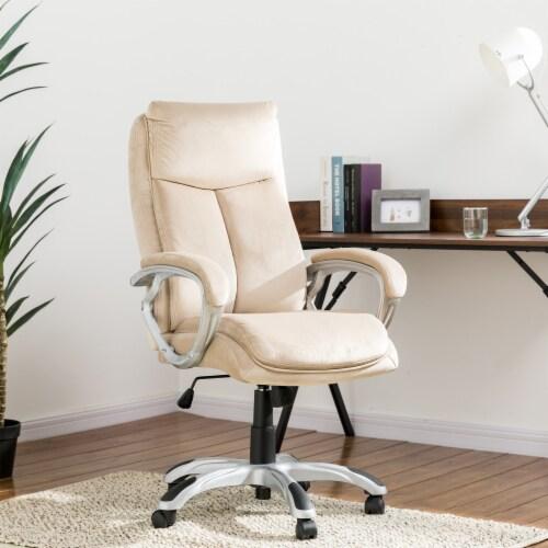 Glitzhome Velvet Adjustable Swivel Office Chair - Cream Perspective: right