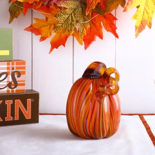 Glitzhome Multi-Striped Glass Pumpkin Perspective: right