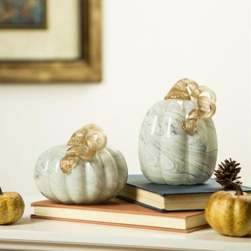 Glitzhome Gray Marble Glass Pumpkin Perspective: right