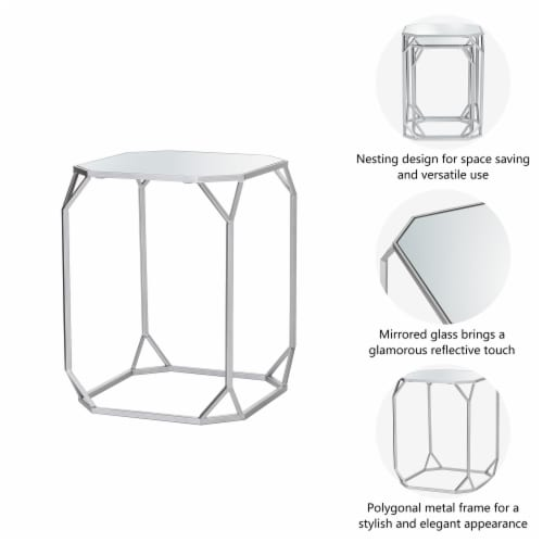 Glitzhome Metal with Glass Accent Table - Silver Perspective: right