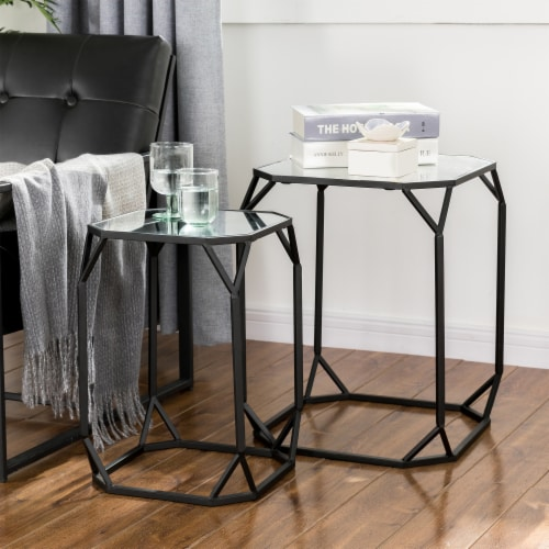 Glitzhome Metal with Glass Accent Table - Black Perspective: right