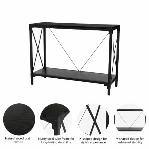 Glitzhome Modern Industry Metal/Wooden Console Table - Black Perspective: right