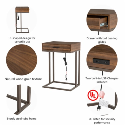 Glitzhome Modern Industry Metal/Wooden C Side Table - Walnut Perspective: right