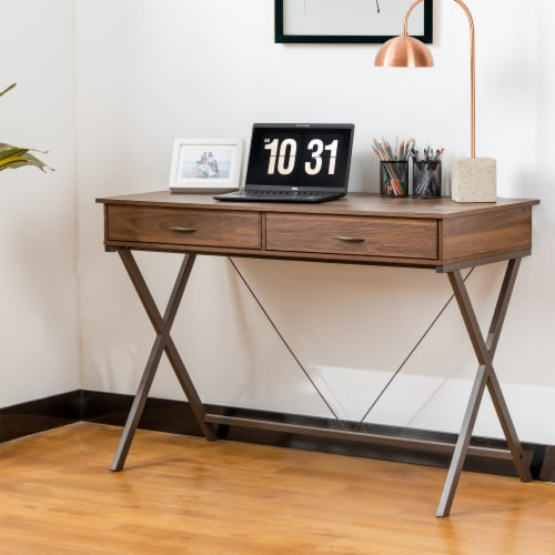 Glitzhome Modern Industry Metal & Wood Writing Desk with Outlet and USB Ports Perspective: right