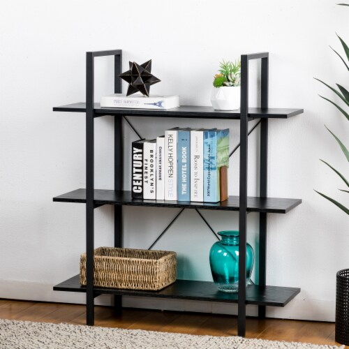 Glitzhome Modern Industry Metal/Wooden 3-Tier Bookcase & Shelves - Black Perspective: right